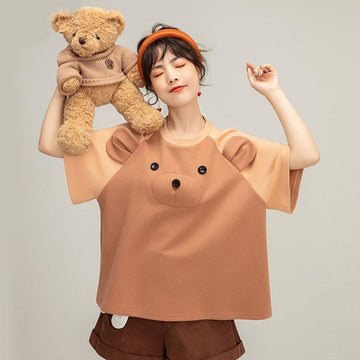 Modakawa T-Shirt Three-dimensional Bear Loose T-shirt