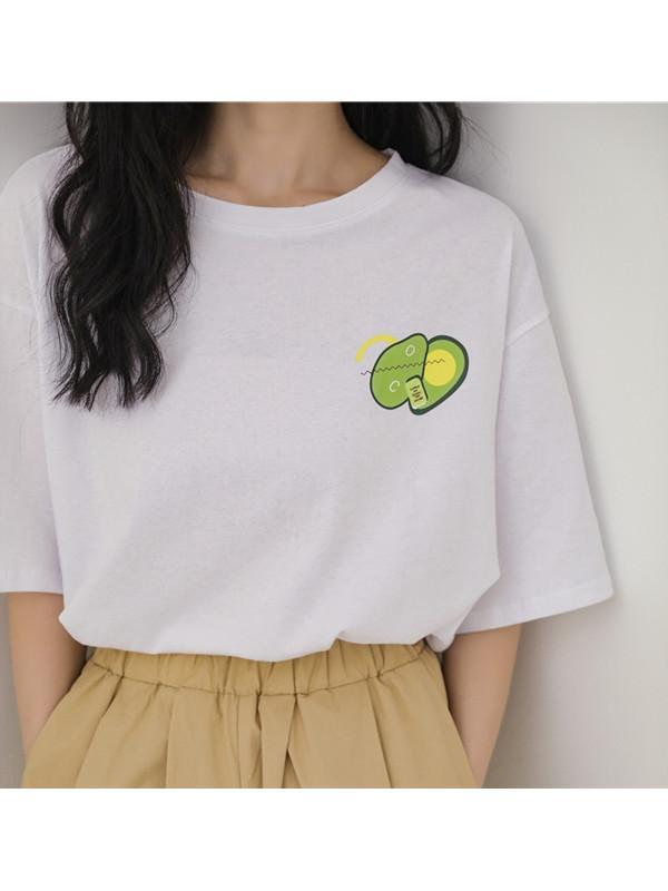 Modakawa T-Shirt White Avocado Print T-Shirt Short Sleeve Vintage Pure Color
