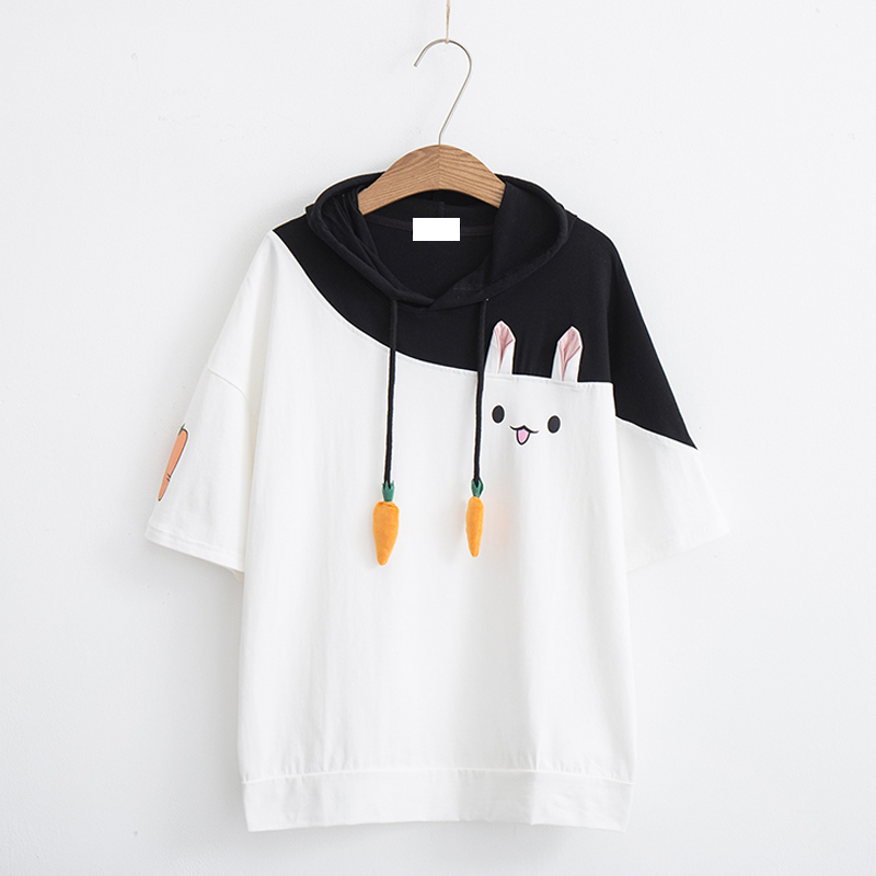 Modakawa T-Shirt White & Black hood / M Rabbit Carrot Drawstrings Cotton Short Sleeve Hooded T-shirt