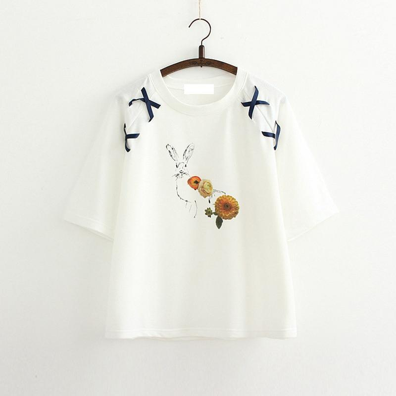 Modakawa T-Shirt White Cute Rabbit Embroidered Loose Lace T-Shirt