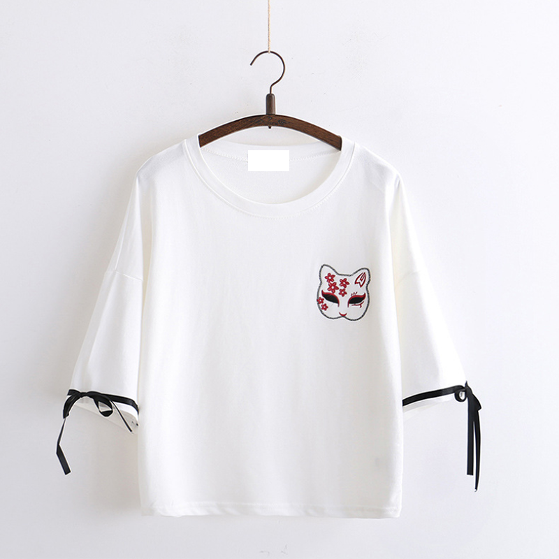 Modakawa T-Shirt White Fox Mask Sakura Embroidery T-shirt Bow Knot