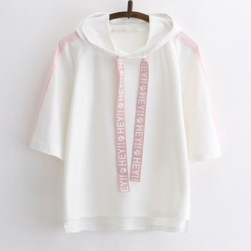 Modakawa T-Shirt White HEY Letter Print Hooded T-shirt