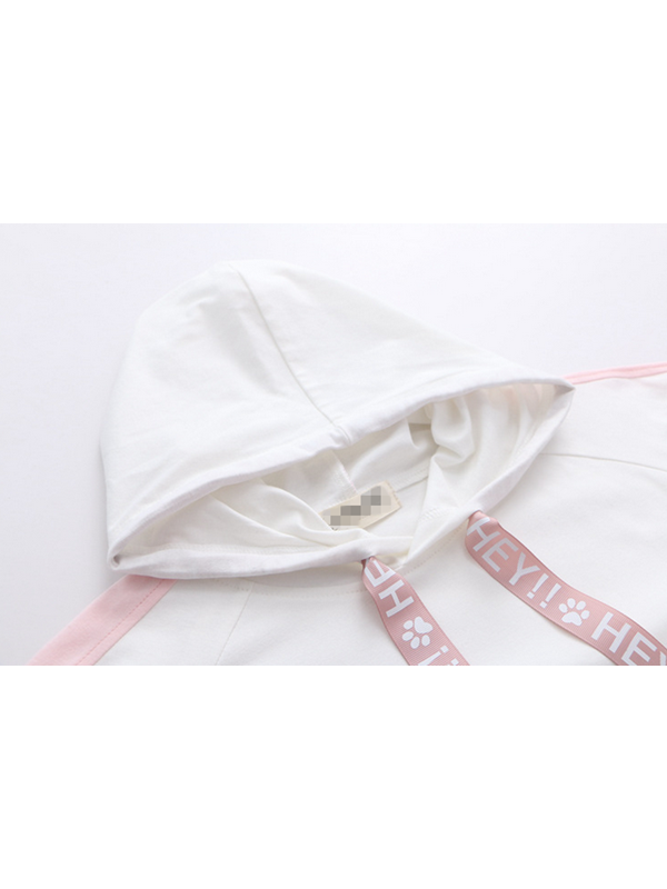 Modakawa T-Shirt White Irregular Length Letter Print Short Sleeve Hoodie