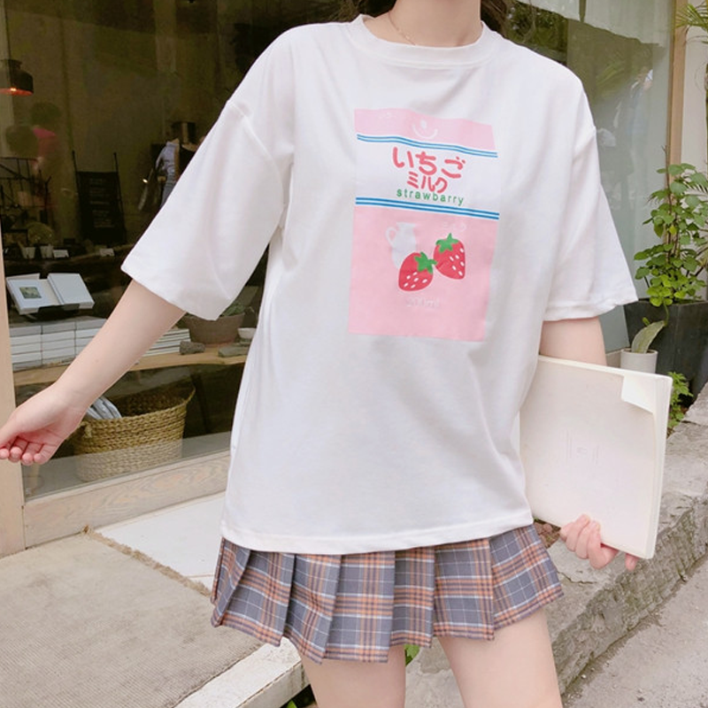 Modakawa T-Shirt White Japanese Cute Strawberry Milk T-Shirt