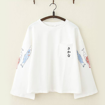 Modakawa T-Shirt White Japanese Koi Fish Trumpet Sleeves Top