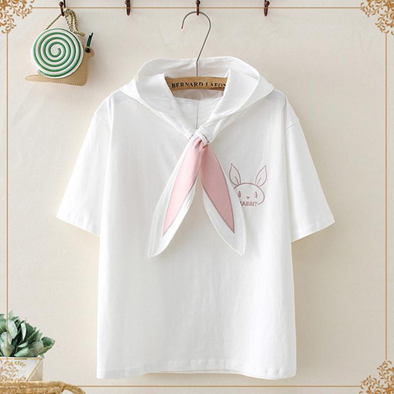 Modakawa T-Shirt White Kawaii Bunny Ears Collar Hooded T-shirt