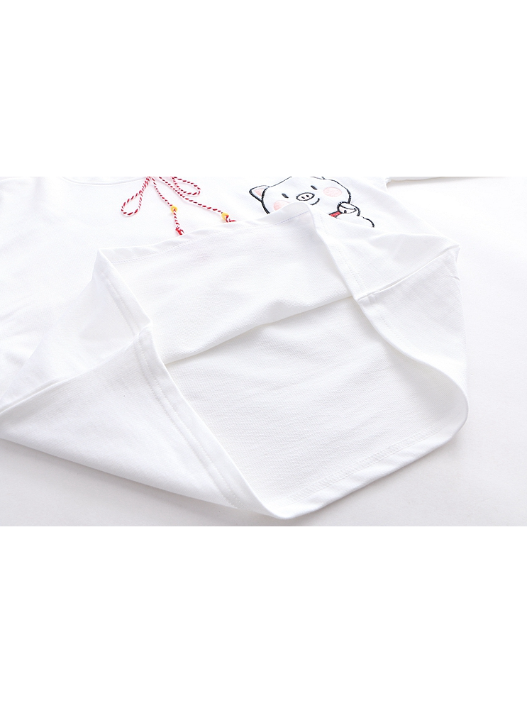 Modakawa T-Shirt White Kawaii Pig Print 2019 Hot style T-shirt