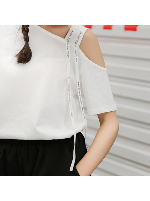 Modakawa T-Shirt White Letter Print Off Shoulder T-Shirt