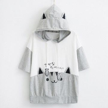 Modakawa T-Shirt White / M Cat Fish Drawstring Hooded T-Shirt