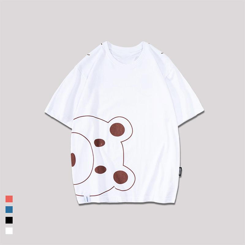 Modakawa T-Shirt White / M Cute Bear Cartoon Print Loose T-Shirt