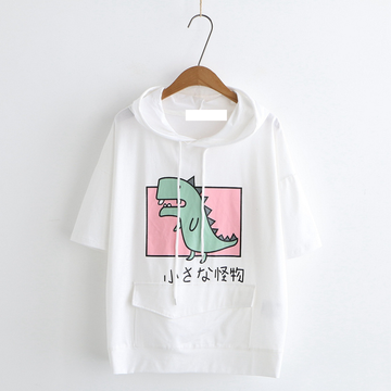 Modakawa T-Shirt White / M Dinosaur Front Pocket Hooded T-shirt