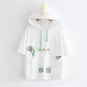 Modakawa T-Shirt White / M Dinosaur Print Short Sleeve Hooded T-shirt