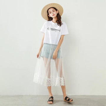 Modakawa T-Shirt White / M Fish Print Lace Splice Dress T-Shirt