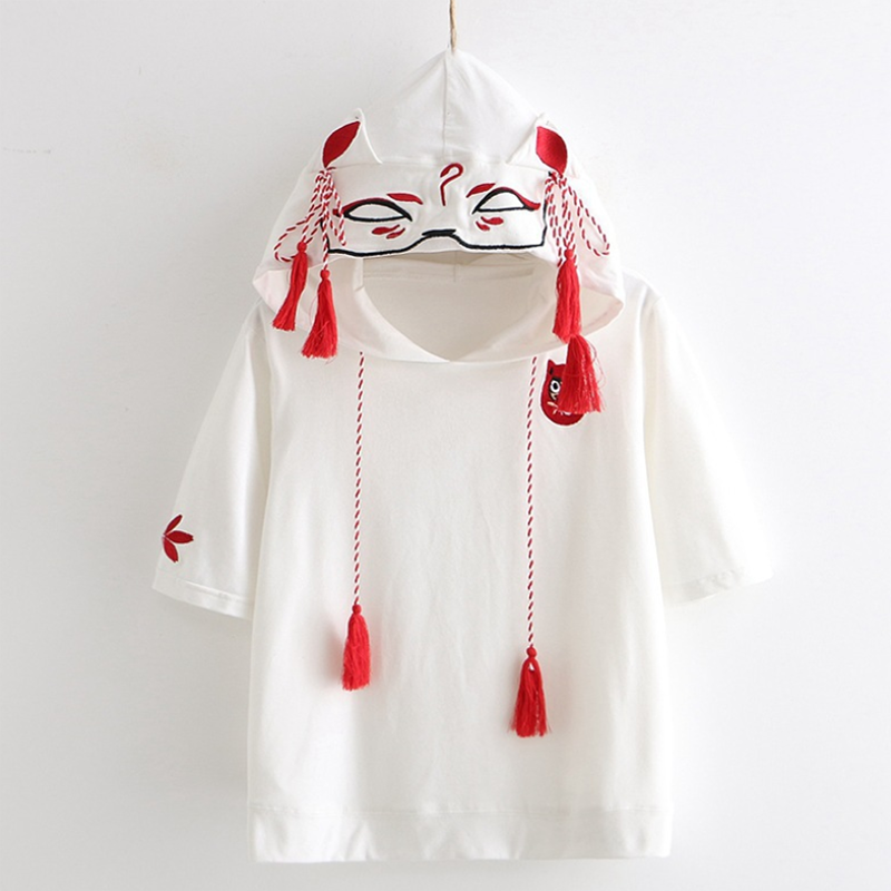 Modakawa T-Shirt White / M Fox Ghost Face Embroidery Tassels Hoodie T-shirt