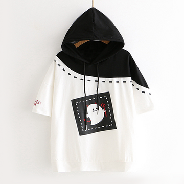 Modakawa T-Shirt White / M Short Sleeve Hoodie Little Devil Print Loose Tee School Girl