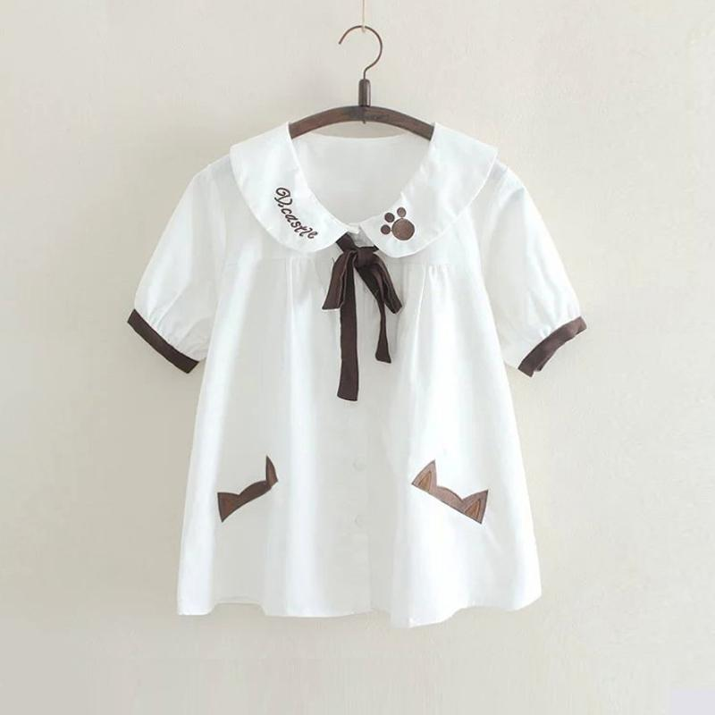 Modakawa T-Shirt White / One Size Bow Knot Bear Paw Doll Collar T-Shirt