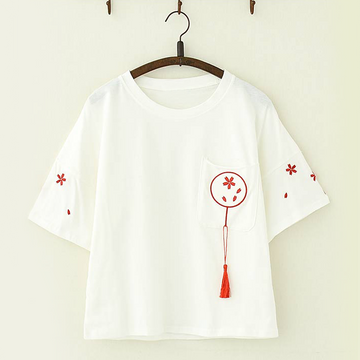 Modakawa T-Shirt White / One Size Cherry Blossom Embroidery Tassel T-Shirt