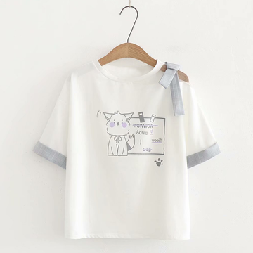 Modakawa T-Shirt White / One Size Cute Cat Kitty Bow-Knot T-shirt