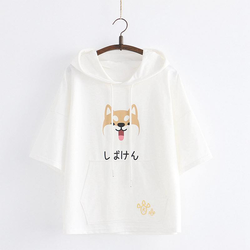 Modakawa T-Shirt White / One Size Japanese Shiba Inu Print Paw Embroidery Ears Hooded T-Shirt