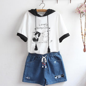 Modakawa T-Shirt White / One Size Japanese Style Cat Print Ear Hoodie T-Shirt