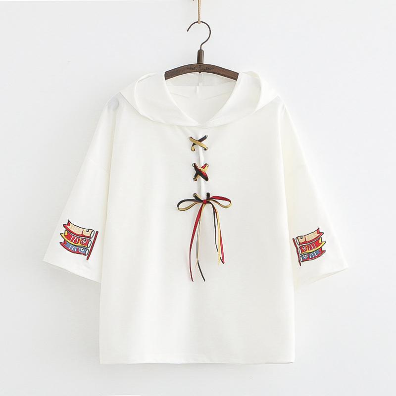 Modakawa T-Shirt White / One Size Koi Embroidery Lace Up T-Shirt