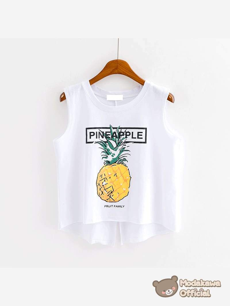 Modakawa T-Shirt White Pineapple Printed Tank Top