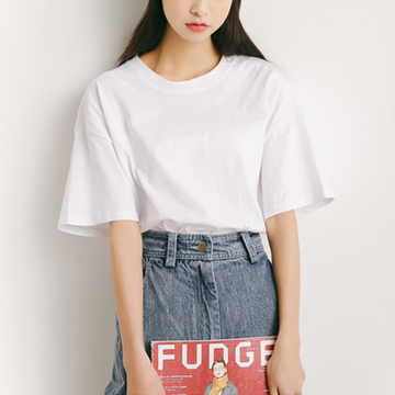 Modakawa T-Shirt White Pure Color Oversized T-shirt