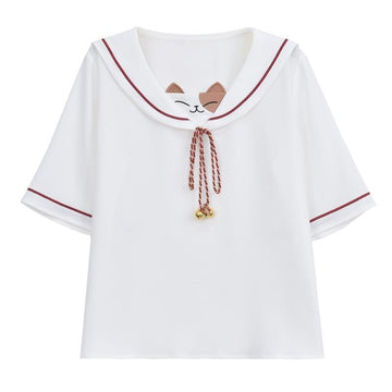 Modakawa T-Shirt White / S Cat Bell Drawstring Sailor Collar College Style T-Shirt