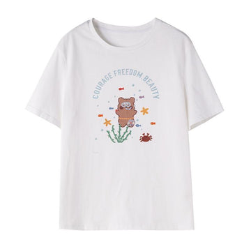 Modakawa T-Shirt White / S COURAGE FREEDOM BEAUTY Letter Diving Bear Print T-Shirt