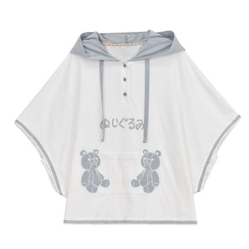 Modakawa T-Shirt White / S Cute Teddy Bear Ears Japanese Button Hooded T-shirt