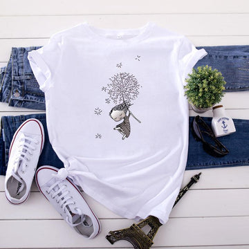 Modakawa T-Shirt White / S Dandelion Girl Print Cotton T-Shirt