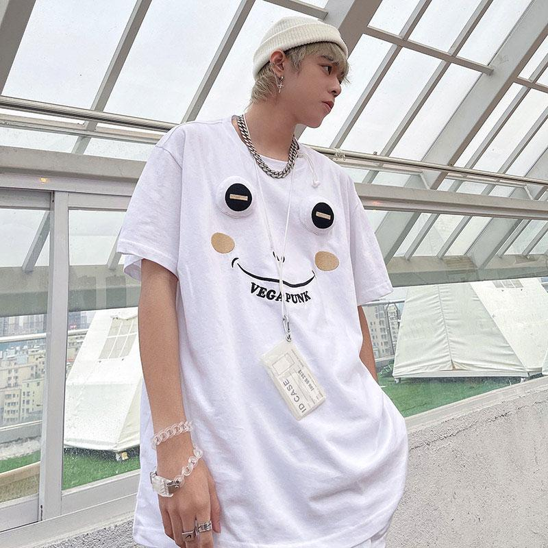 Modakawa T-Shirt White / S Frog Three-Dimensional Embroidery Cartoon T-Shirt