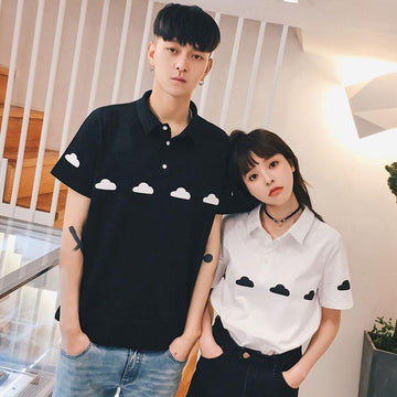 Modakawa T-Shirt White / S Girlfriend Boyfriend Cloud Print Collar T-Shirt