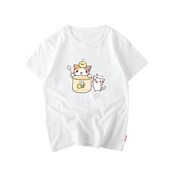 Modakawa T-Shirt White / S Kawaii Cartoon Kitty T-shirt
