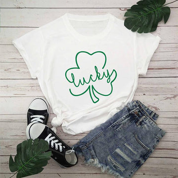Modakawa T-shirt White / S St. Patrick's Day Lucky Clover Print Cotton T-Shirt