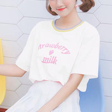 Modakawa T-Shirt White / S Strawberry Milk Letter Loose T-Shirt