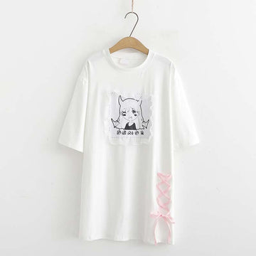 Modakawa T-Shirt White Short Sleeve Tee Lace Dark Demon Print Loose Dress