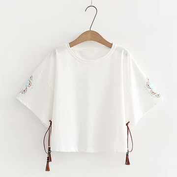 Modakawa T-Shirt White Tassels Fishes Loose T-shirt