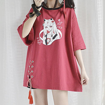 Modakawa T-Shirt Wine Red / One Size Cartoon Cat Girl Print Lace Up Tassel Oversize T-Shirt