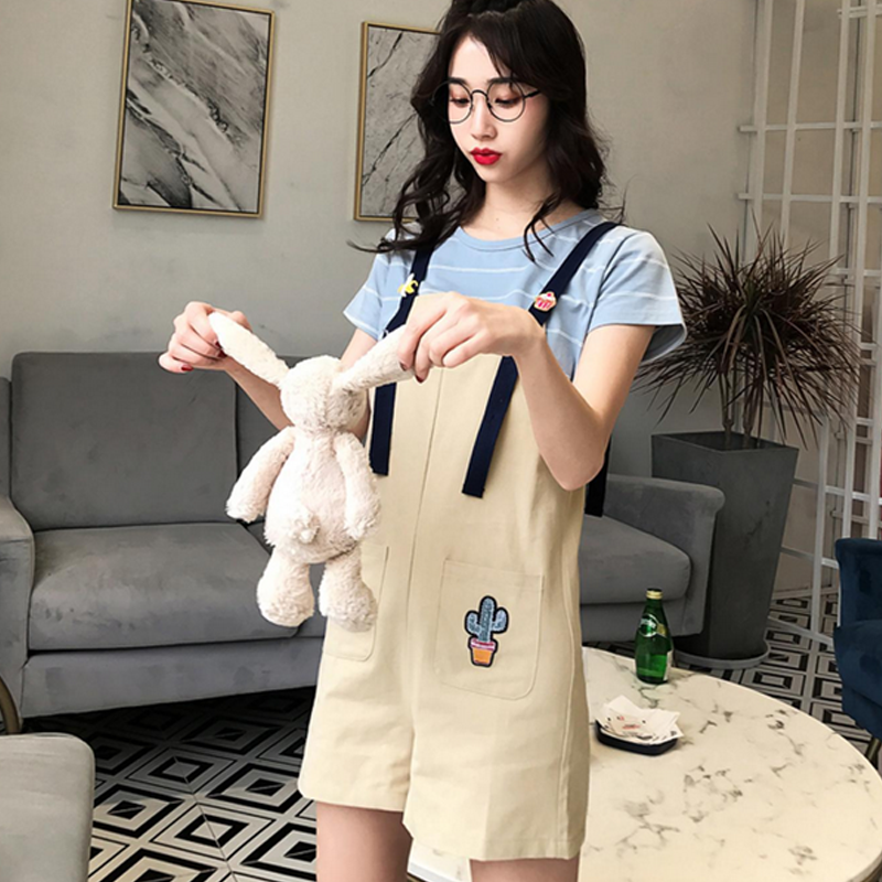 Modakawa T-Shirt Woman Set / M Girlfriend Boyfriend Valentine Cactus T-Shirt Bib Overalls Shorts Set