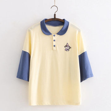 Modakawa T-Shirt Yellow / One Size Cartoon Witch Embroidery College Style Polo T-shirt