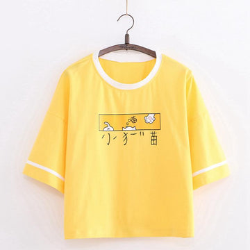 Modakawa T-Shirt Yellow / One Size Cat Paw Cartoon Print T-Shirt