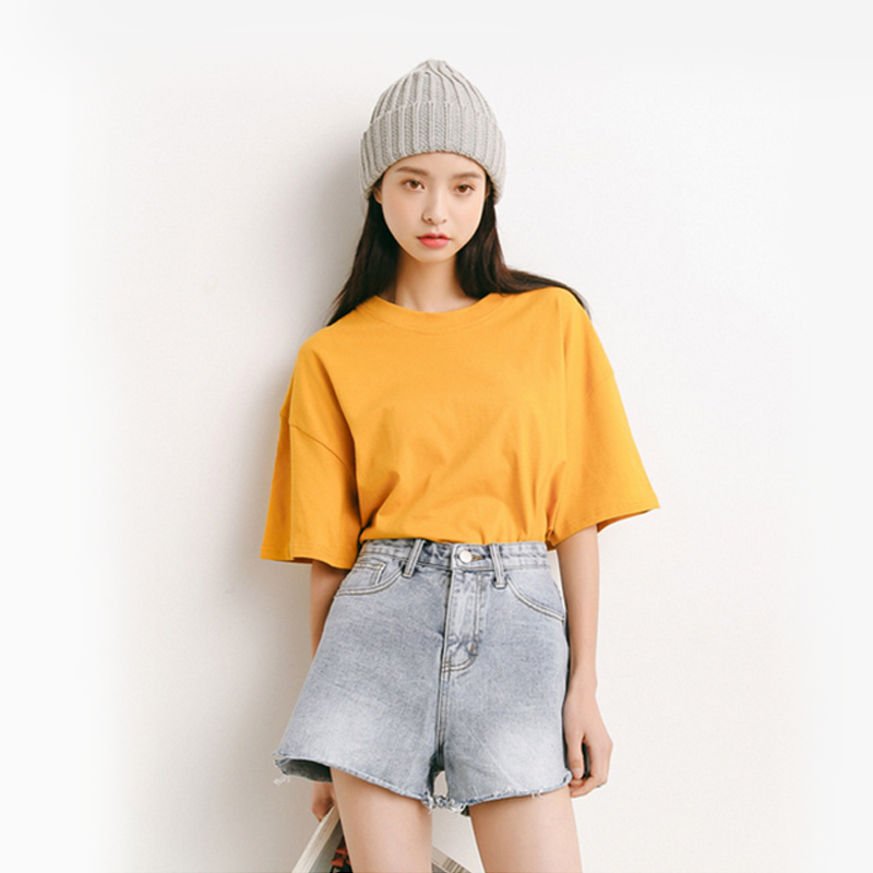Modakawa T-Shirt Yellow Pure Color Oversized T-shirt