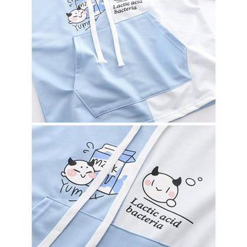Modakawa T-Shirt Yummy Milk Cartoon Pocket Hooded T-shirt