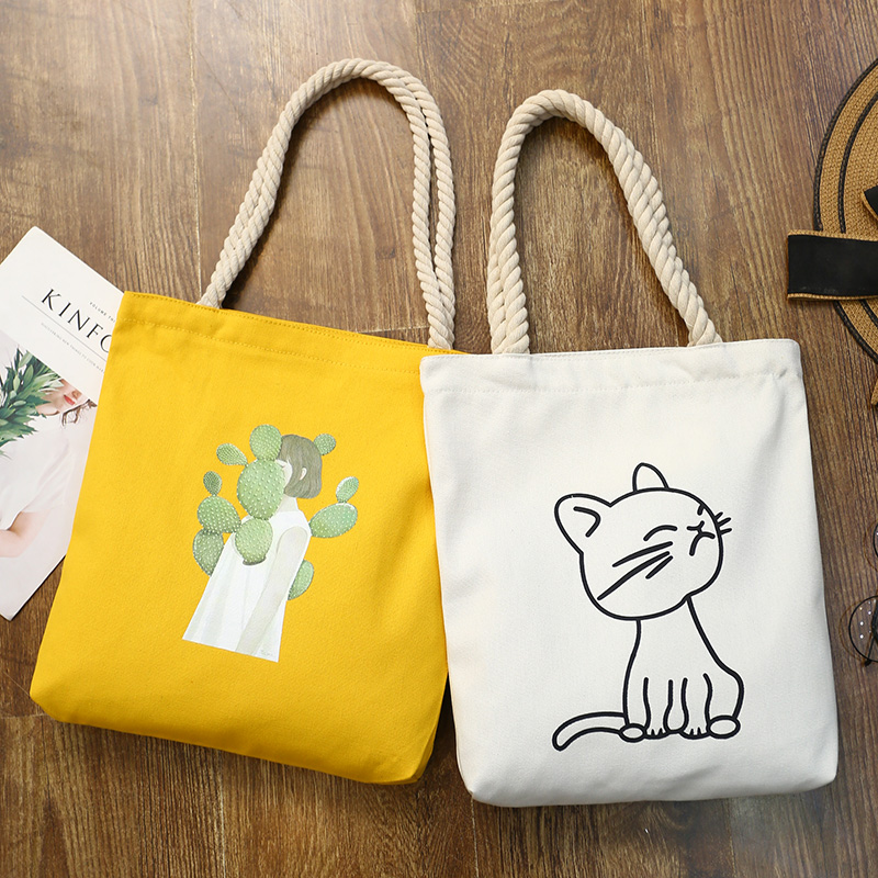 Modakawa Tote Cartoon Canvas Shopping Tote Bag