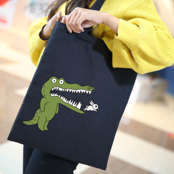 Modakawa Tote Cartoon Crocodile Rabbit Print Canvas Bag