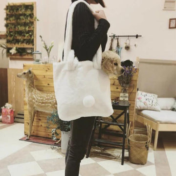 Modakawa Tote Cute Furry Rabbit Ears Tail Tote Bag