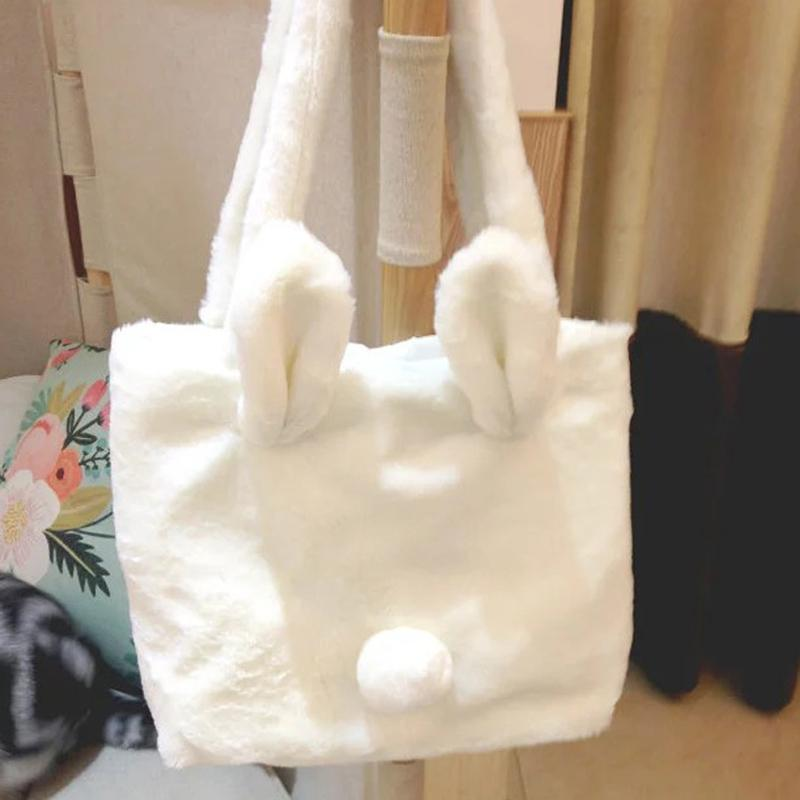 Modakawa Tote White / One Size Cute Furry Rabbit Ears Tail Tote Bag