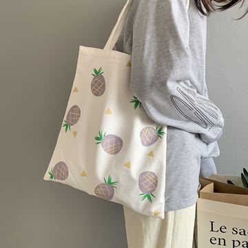 Modakawa Tote White / One Size Pineapple Fruit Canvas Bag