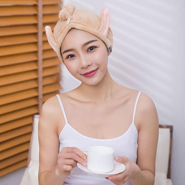 Modakawa Towels Brown / 20 x 65 cm Ears Hair Drying Towels Cap